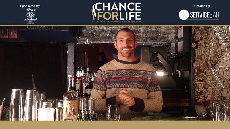 """Service Bar's, Chad Spangler creates the """"Short Cel-ling Stalks"""" cocktail with Tito's Vodka"""